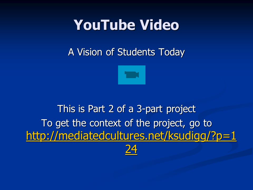 YouTube Video A Vision of Students Today This is Part 2 of a 3-part project To get the context of the project, go to   p= p= p=1 24