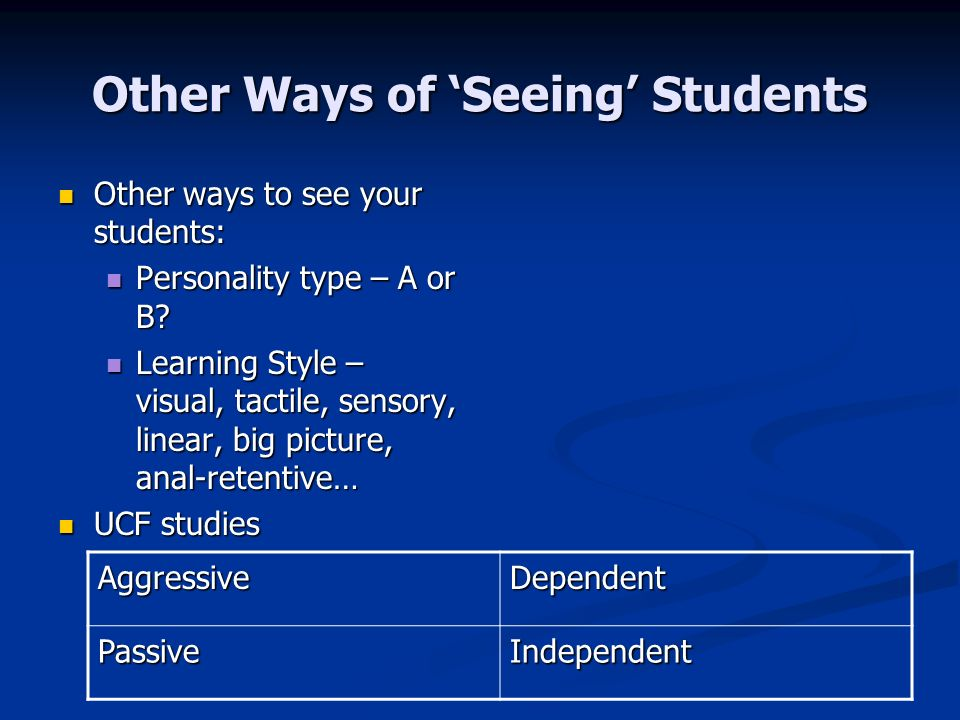 Other Ways of Seeing Students Other ways to see your students: Other ways to see your students: Personality type – A or B.