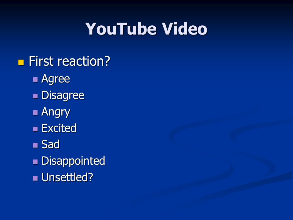 YouTube Video First reaction. First reaction.