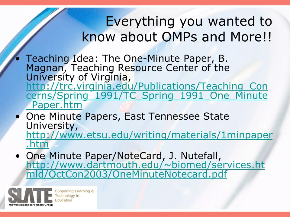 Everything you wanted to know about OMPs and More!.