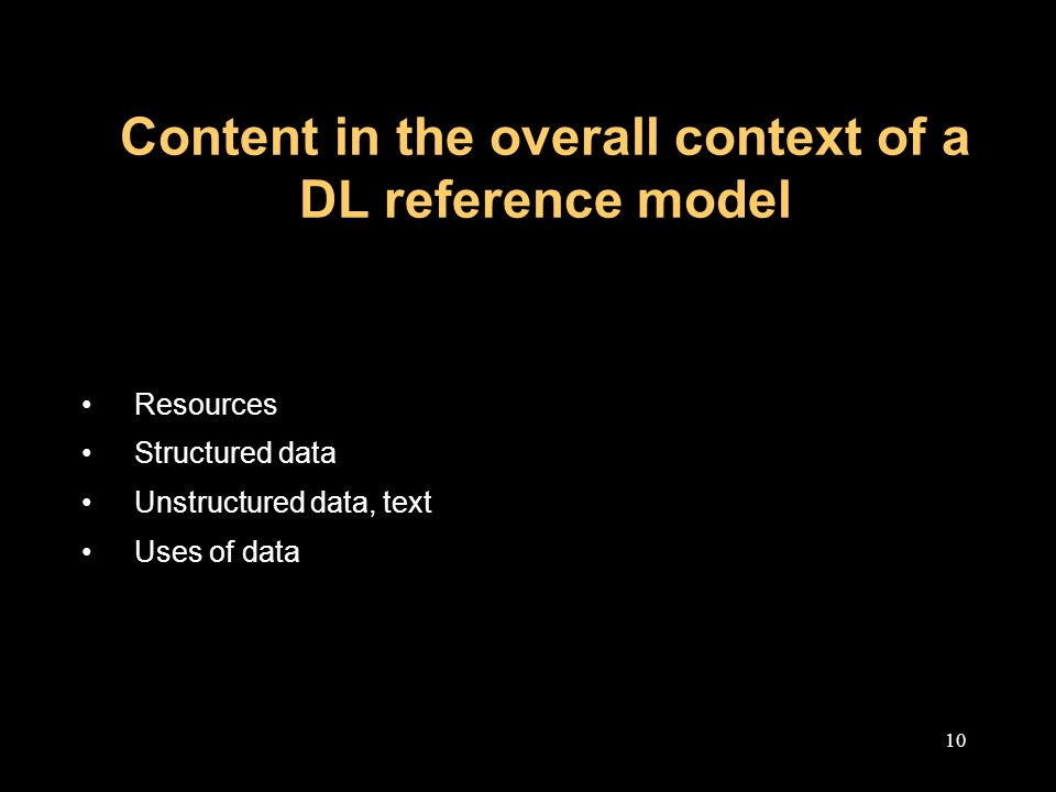 10 Content in the overall context of a DL reference model Resources Structured data Unstructured data, text Uses of data