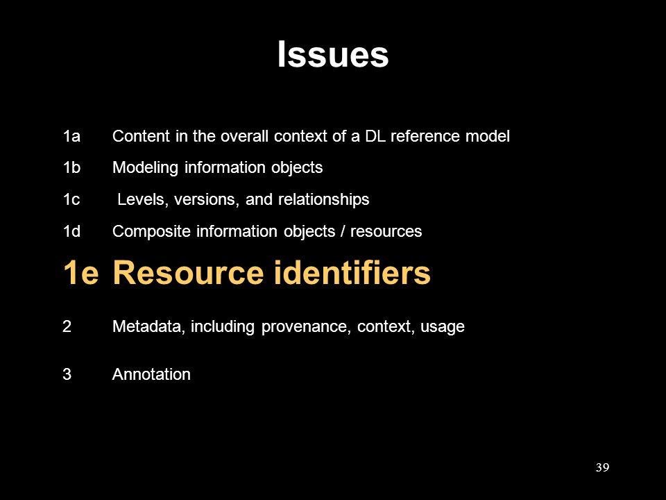 39 Issues 1aContent in the overall context of a DL reference model 1bModeling information objects 1c Levels, versions, and relationships 1dComposite information objects / resources 1eResource identifiers 2Metadata, including provenance, context, usage 3Annotation