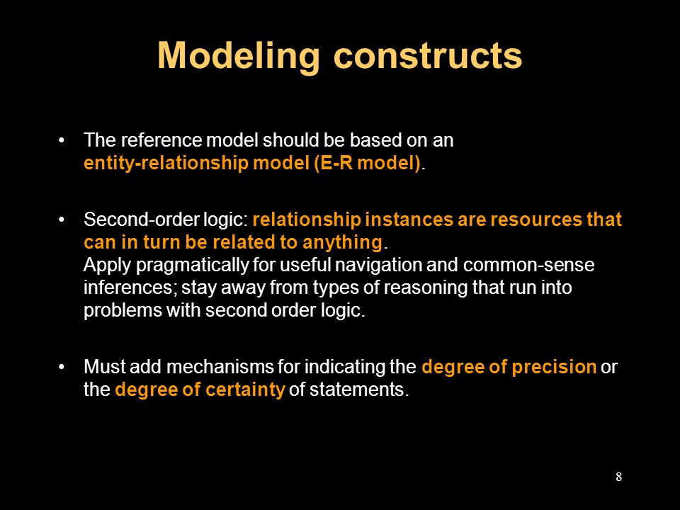 8 Modeling constructs The reference model should be based on an entity-relationship model (E-R model).