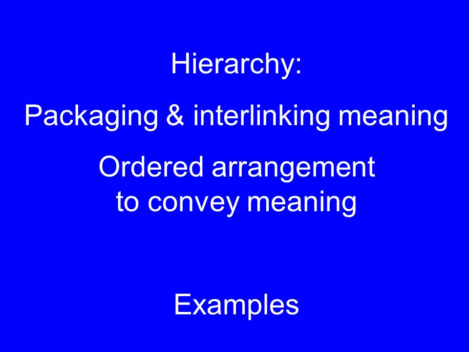 Hierarchy: Packaging & interlinking meaning Ordered arrangement to convey meaning Examples