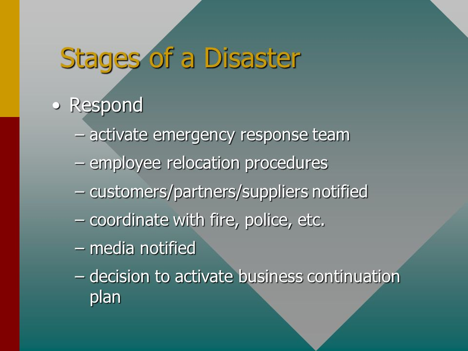 Stages of a Disaster Stages of a Disaster RespondRespond –activate emergency response team –employee relocation procedures –customers/partners/suppliers notified –coordinate with fire, police, etc.