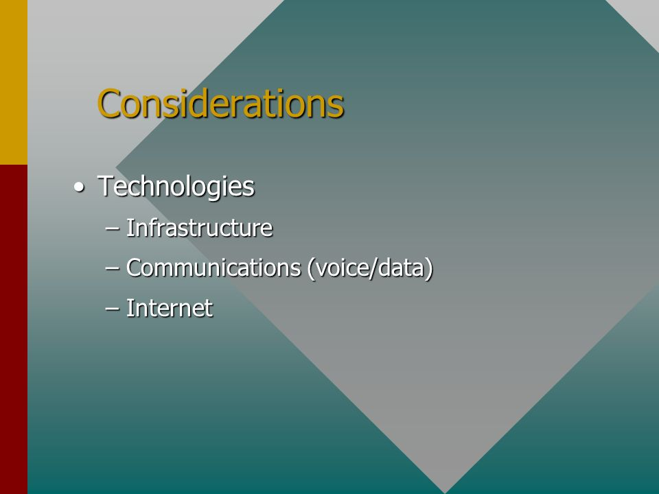 Considerations Considerations TechnologiesTechnologies –Infrastructure –Communications (voice/data) –Internet