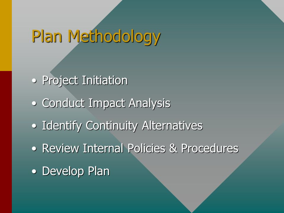Project InitiationProject Initiation Conduct Impact AnalysisConduct Impact Analysis Identify Continuity AlternativesIdentify Continuity Alternatives Review Internal Policies & ProceduresReview Internal Policies & Procedures Develop PlanDevelop Plan