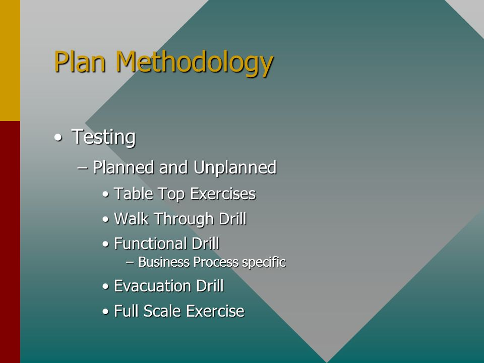 Plan Methodology TestingTesting –Planned and Unplanned Table Top ExercisesTable Top Exercises Walk Through DrillWalk Through Drill Functional DrillFunctional Drill –Business Process specific Evacuation DrillEvacuation Drill Full Scale ExerciseFull Scale Exercise