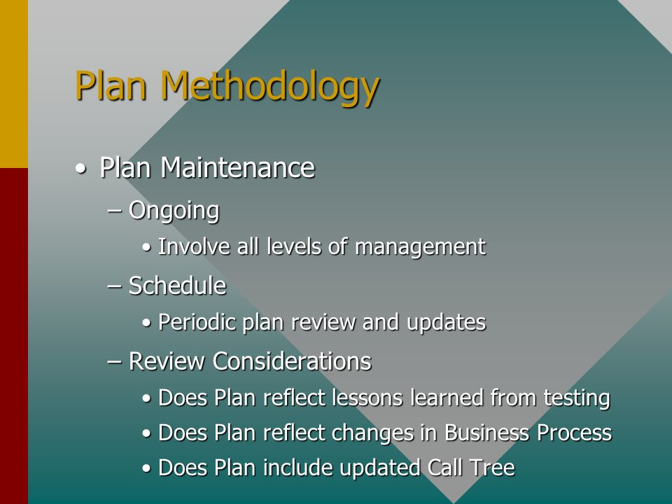 Plan Methodology Plan MaintenancePlan Maintenance –Ongoing Involve all levels of managementInvolve all levels of management –Schedule Periodic plan review and updatesPeriodic plan review and updates –Review Considerations Does Plan reflect lessons learned from testingDoes Plan reflect lessons learned from testing Does Plan reflect changes in Business ProcessDoes Plan reflect changes in Business Process Does Plan include updated Call TreeDoes Plan include updated Call Tree
