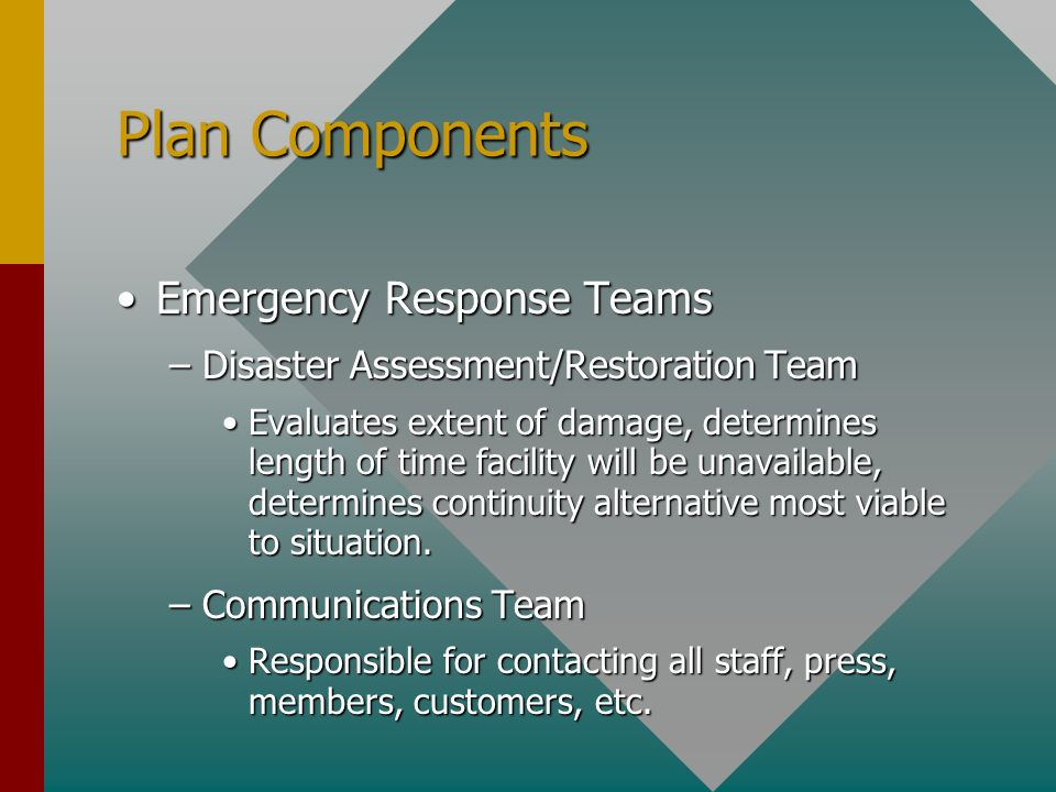 Plan Components Emergency Response TeamsEmergency Response Teams –Disaster Assessment/Restoration Team Evaluates extent of damage, determines length of time facility will be unavailable, determines continuity alternative most viable to situation.Evaluates extent of damage, determines length of time facility will be unavailable, determines continuity alternative most viable to situation.