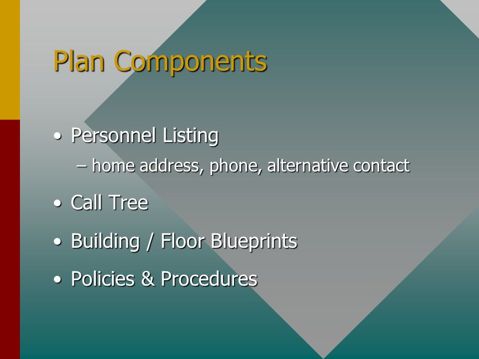 Plan Components Personnel ListingPersonnel Listing –home address, phone, alternative contact Call TreeCall Tree Building / Floor BlueprintsBuilding / Floor Blueprints Policies & ProceduresPolicies & Procedures
