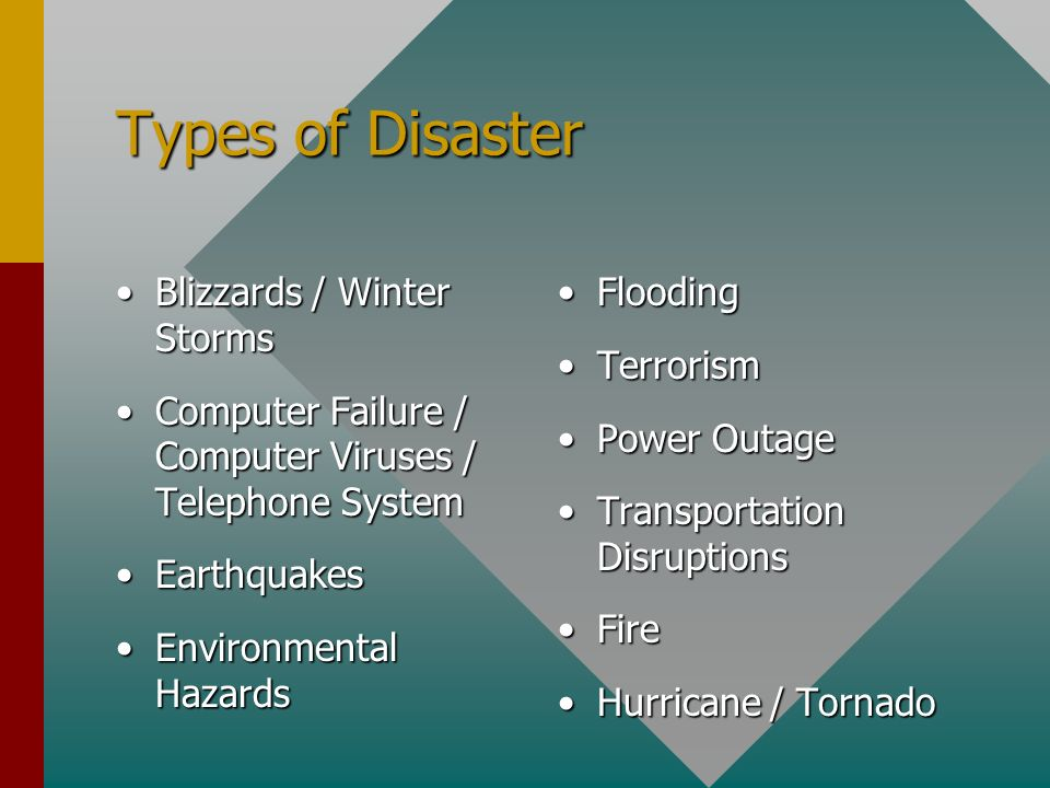 Types of Disaster Blizzards / Winter StormsBlizzards / Winter Storms Computer Failure / Computer Viruses / Telephone SystemComputer Failure / Computer Viruses / Telephone System EarthquakesEarthquakes Environmental HazardsEnvironmental Hazards Flooding Terrorism Power Outage Transportation Disruptions Fire Hurricane / Tornado