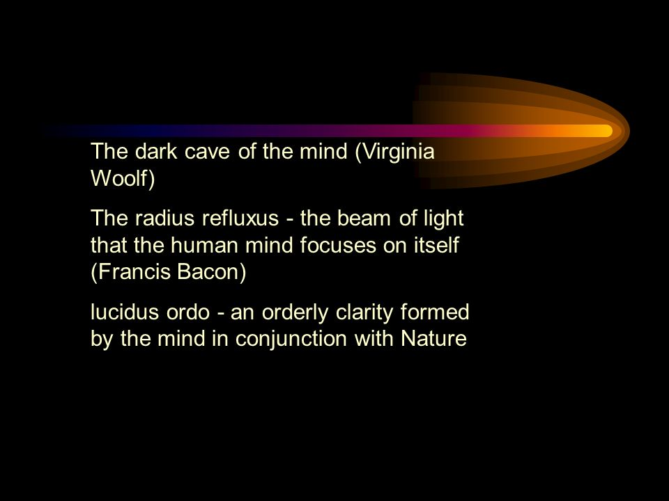 The dark cave of the mind (Virginia Woolf) The radius refluxus - the beam of light that the human mind focuses on itself (Francis Bacon) lucidus ordo - an orderly clarity formed by the mind in conjunction with Nature