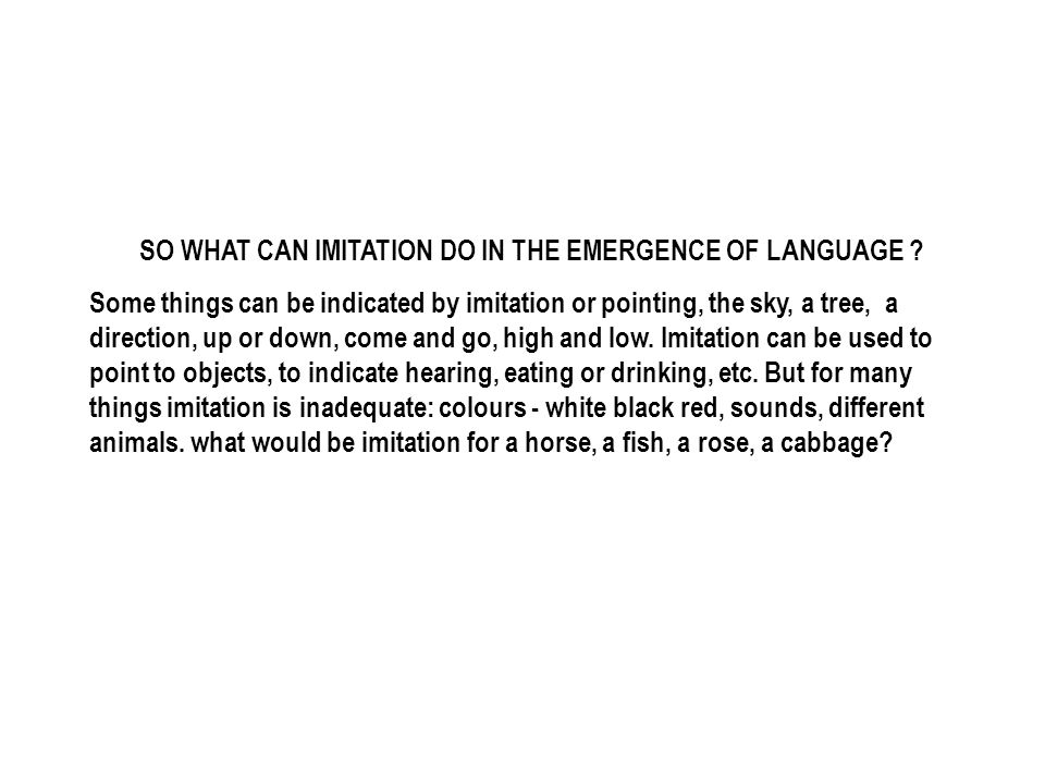SO WHAT CAN IMITATION DO IN THE EMERGENCE OF LANGUAGE .