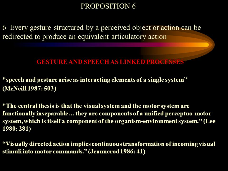 PROPOSITION 6 6 Every gesture structured by a perceived object or action can be redirected to produce an equivalent articulatory action speech and gesture arise as interacting elements of a single system (McNeill 1987: 503 ) The central thesis is that the visual system and the motor system are functionally inseparable...