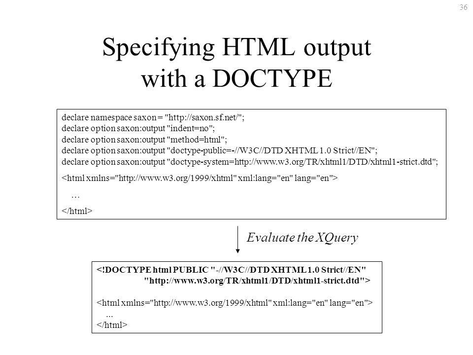 36 Specifying HTML output with a DOCTYPE declare namespace saxon =   ; declare option saxon:output indent=no ; declare option saxon:output method=html ; declare option saxon:output doctype-public=-//W3C//DTD XHTML 1.0 Strict//EN ; declare option saxon:output doctype-system=  ; … <!DOCTYPE html PUBLIC -//W3C//DTD XHTML 1.0 Strict//EN   >...