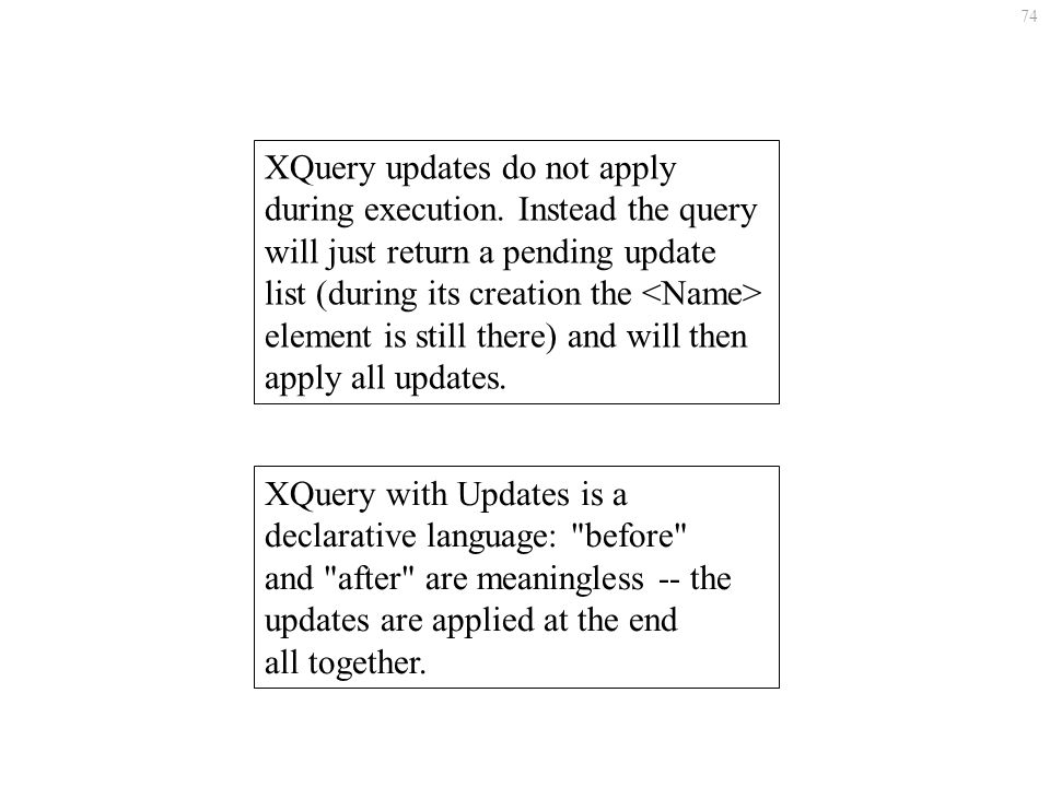 74 XQuery updates do not apply during execution.