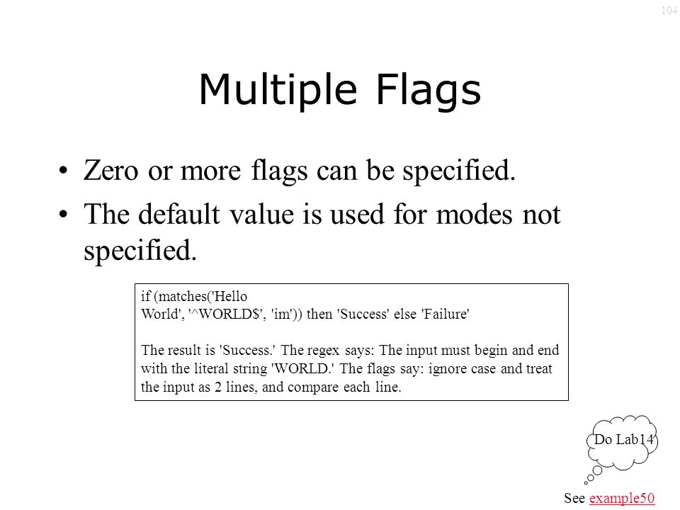 104 Multiple Flags Zero or more flags can be specified.
