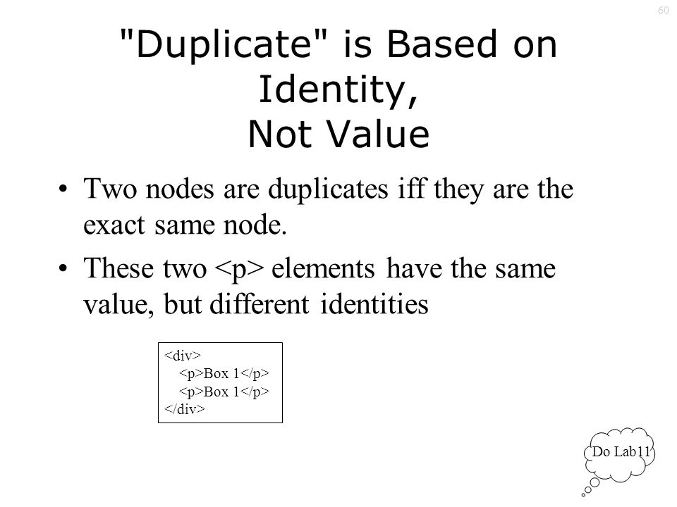 60 Duplicate is Based on Identity, Not Value Two nodes are duplicates iff they are the exact same node.