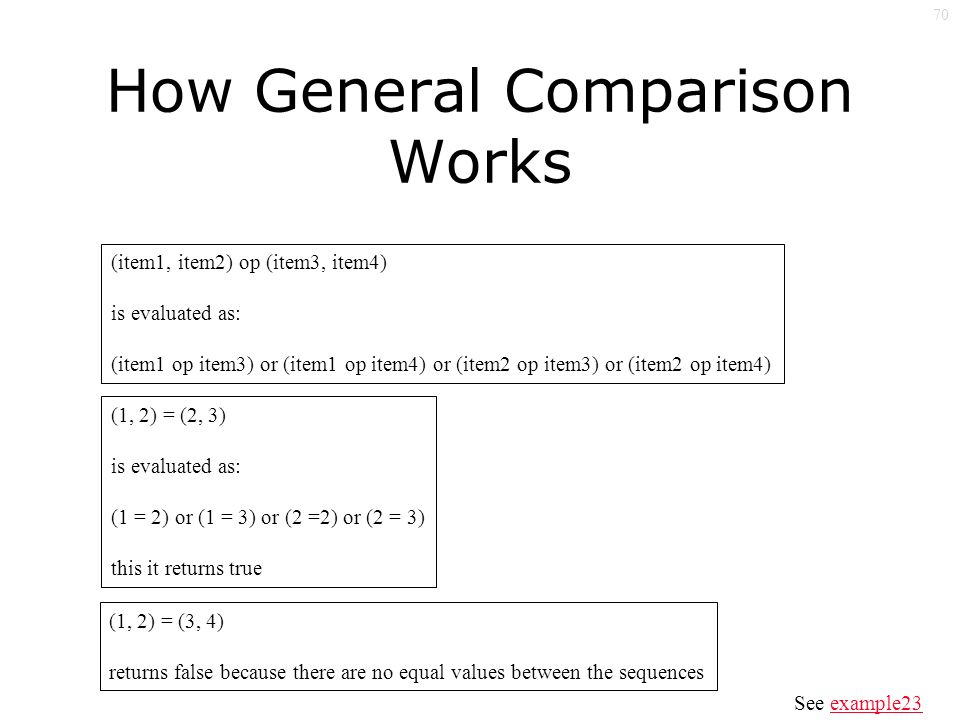 70 How General Comparison Works (item1, item2) op (item3, item4) is evaluated as: (item1 op item3) or (item1 op item4) or (item2 op item3) or (item2 op item4) (1, 2) = (2, 3) is evaluated as: (1 = 2) or (1 = 3) or (2 =2) or (2 = 3) this it returns true (1, 2) = (3, 4) returns false because there are no equal values between the sequences See example23example23