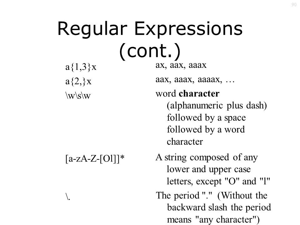 90 Regular Expressions (cont.) a{1,3}x a{2,}x \w\s\w ax, aax, aaax aax, aaax, aaaax, … word character (alphanumeric plus dash) followed by a space followed by a word character [a-zA-Z-[Ol]]* A string composed of any lower and upper case letters, except O and l \.