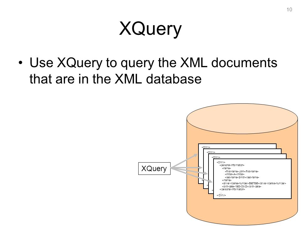 10 XQuery Use XQuery to query the XML documents that are in the XML database John A Smith B … John A Smith B … John A Smith B … John A Smith B … XQuery