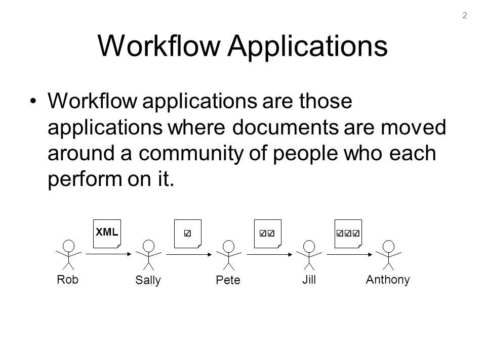 2 Workflow Applications Workflow applications are those applications where documents are moved around a community of people who each perform on it.