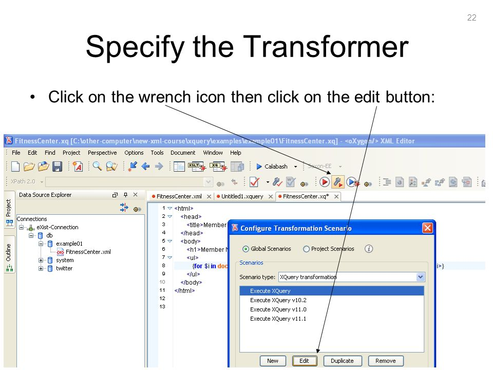 22 Specify the Transformer Click on the wrench icon then click on the edit button: