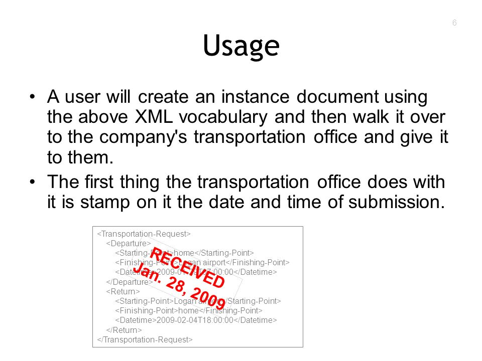 6 Usage A user will create an instance document using the above XML vocabulary and then walk it over to the company s transportation office and give it to them.
