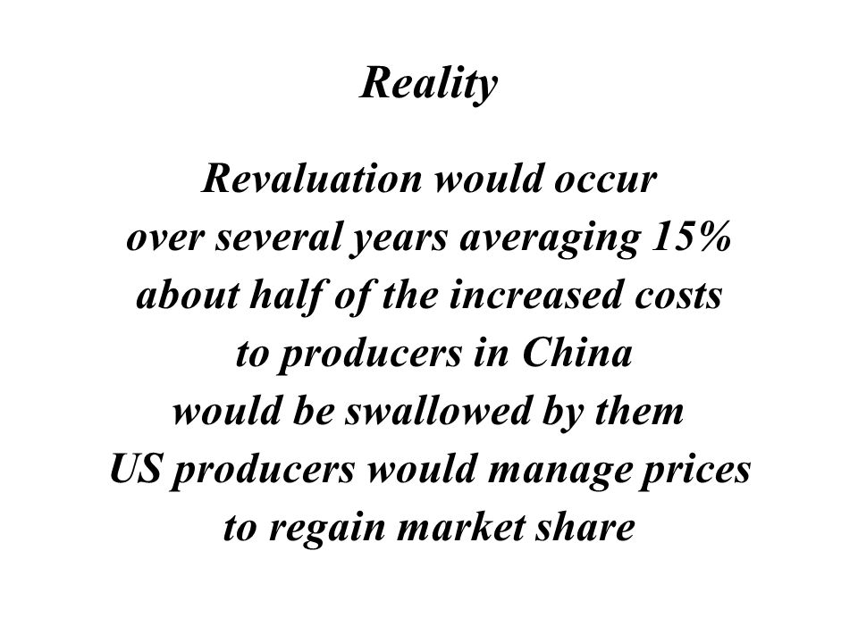 Myth Currency revaluation would make prices in the USA go up 40%