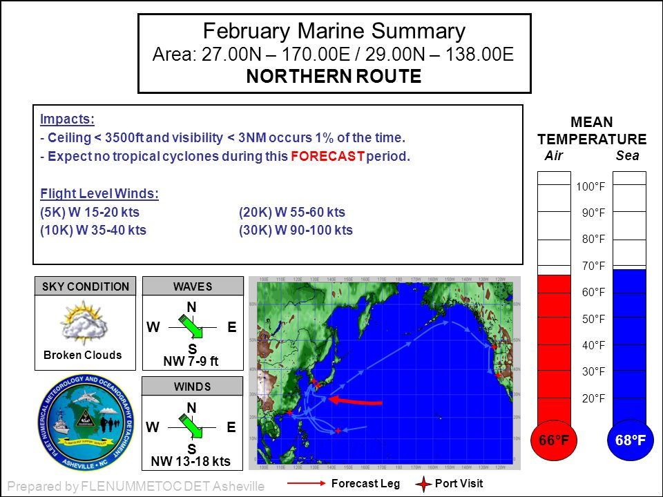 Prepared by FLENUMMETOC DET Asheville February Marine Summary Area: 27.00N – 170.00E / 29.00N – 138.00E NORTHERN ROUTE Impacts: - Ceiling < 3500ft and visibility < 3NM occurs 1% of the time.