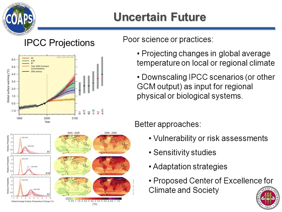 Uncertain Future IPCC Projections Poor science or practices: Projecting changes in global average temperature on local or regional climate Downscaling IPCC scenarios (or other GCM output) as input for regional physical or biological systems.