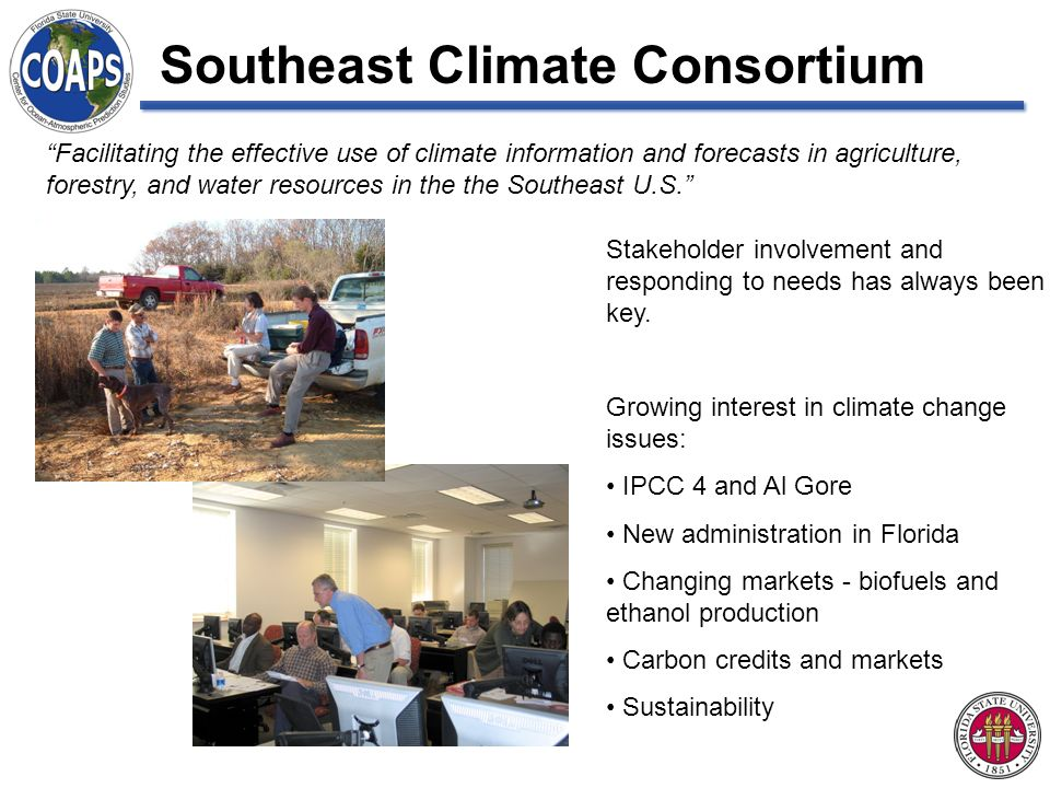 Facilitating the effective use of climate information and forecasts in agriculture, forestry, and water resources in the the Southeast U.S.