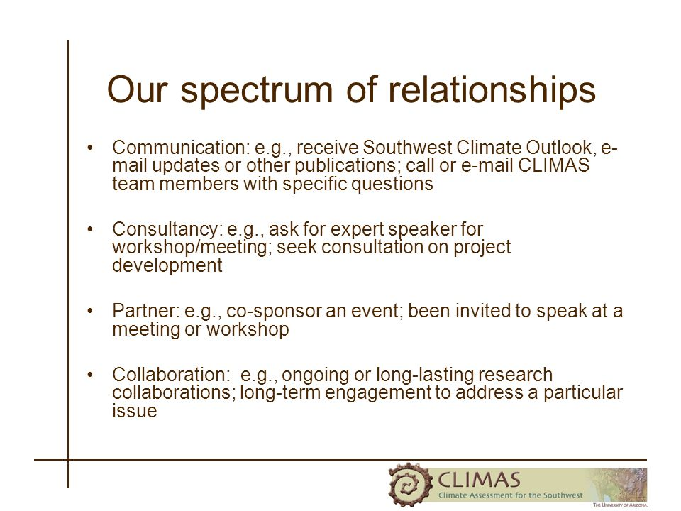 Our spectrum of relationships Communication: e.g., receive Southwest Climate Outlook, e- mail updates or other publications; call or e-mail CLIMAS team members with specific questions Consultancy: e.g., ask for expert speaker for workshop/meeting; seek consultation on project development Partner: e.g., co-sponsor an event; been invited to speak at a meeting or workshop Collaboration: e.g., ongoing or long-lasting research collaborations; long-term engagement to address a particular issue