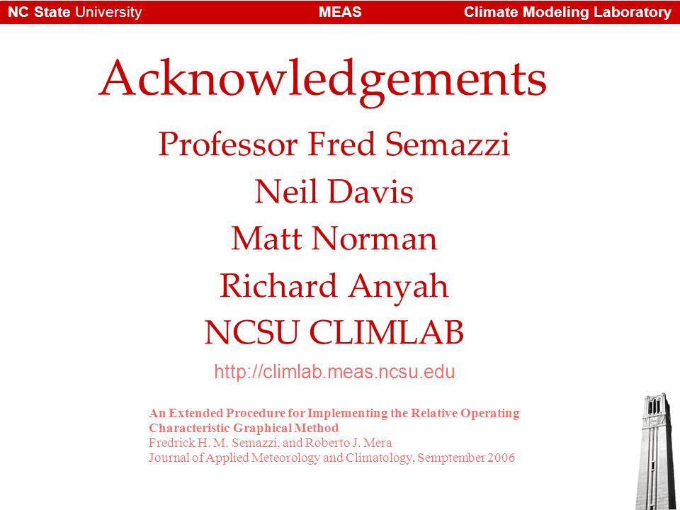 Climate Modeling LaboratoryMEASNC State University Acknowledgements Professor Fred Semazzi Neil Davis Matt Norman Richard Anyah NCSU CLIMLAB   An Extended Procedure for Implementing the Relative Operating Characteristic Graphical Method Fredrick H.