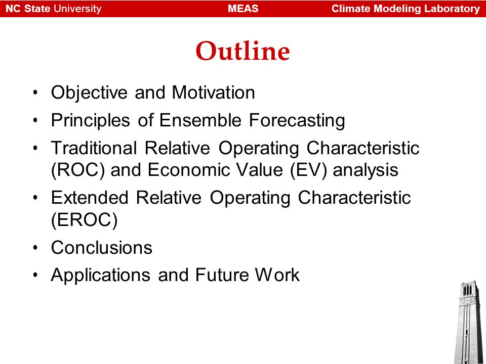 Climate Modeling LaboratoryMEASNC State University Outline Objective and Motivation Principles of Ensemble Forecasting Traditional Relative Operating Characteristic (ROC) and Economic Value (EV) analysis Extended Relative Operating Characteristic (EROC) Conclusions Applications and Future Work