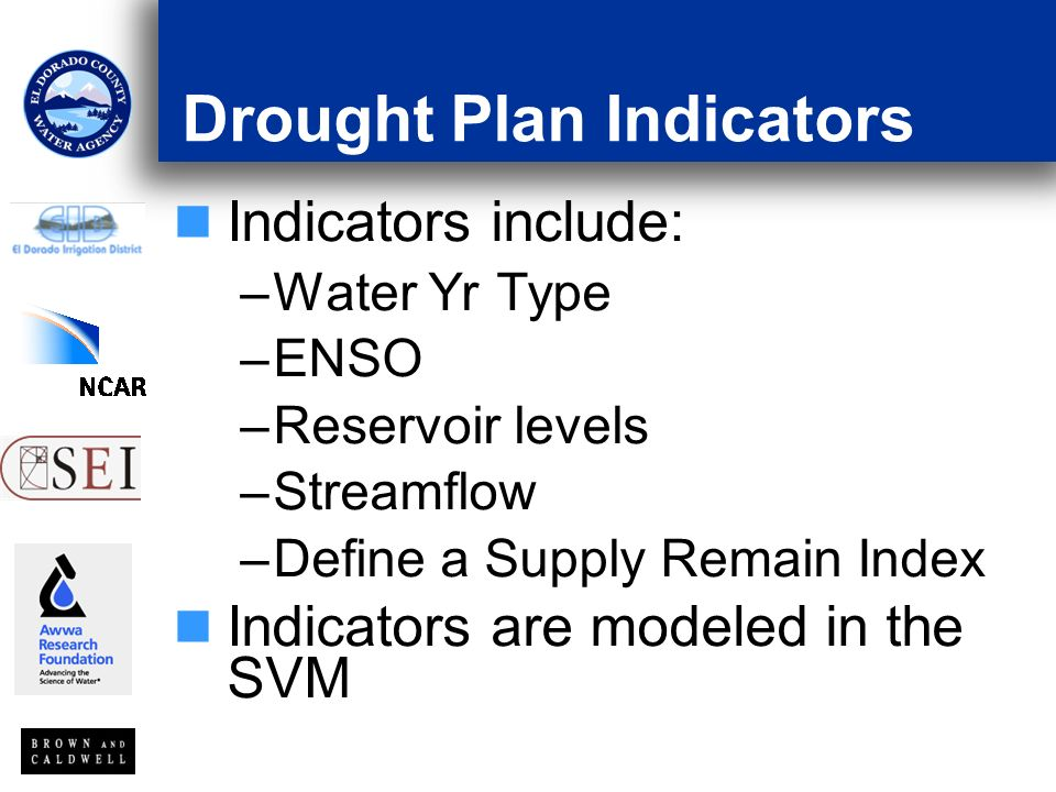 Drought Plan Indicators Indicators include: –Water Yr Type –ENSO –Reservoir levels –Streamflow –Define a Supply Remain Index Indicators are modeled in the SVM