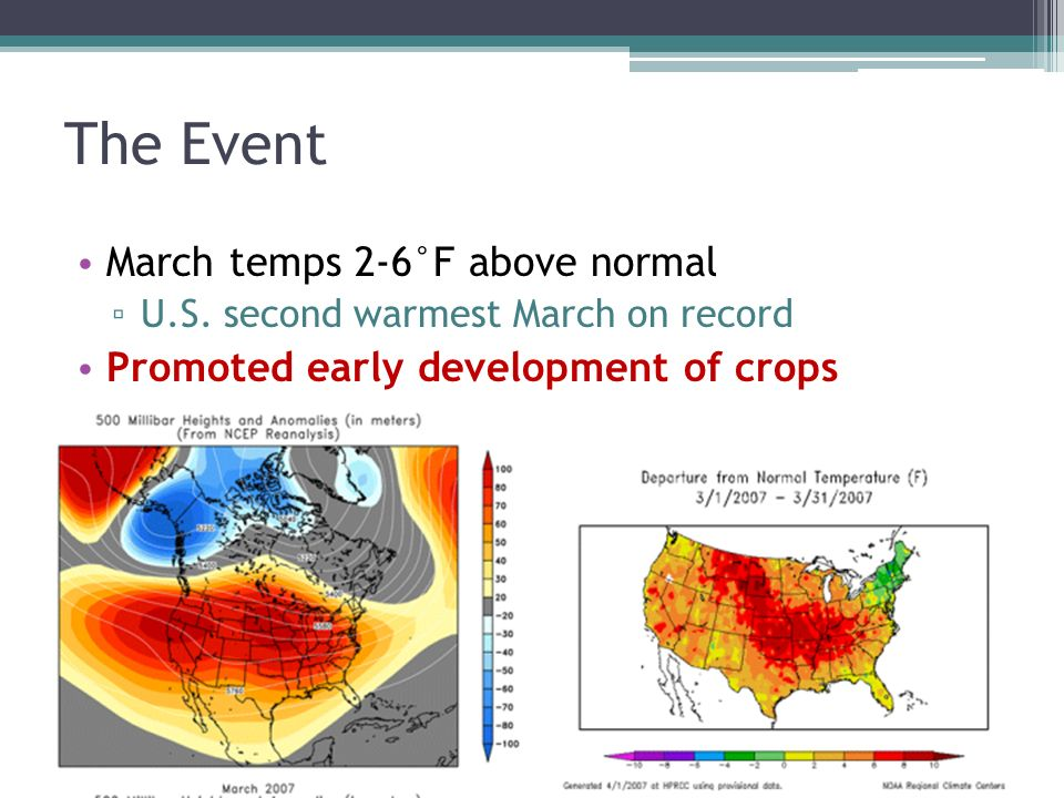 The Event March temps 2-6°F above normal U.S.
