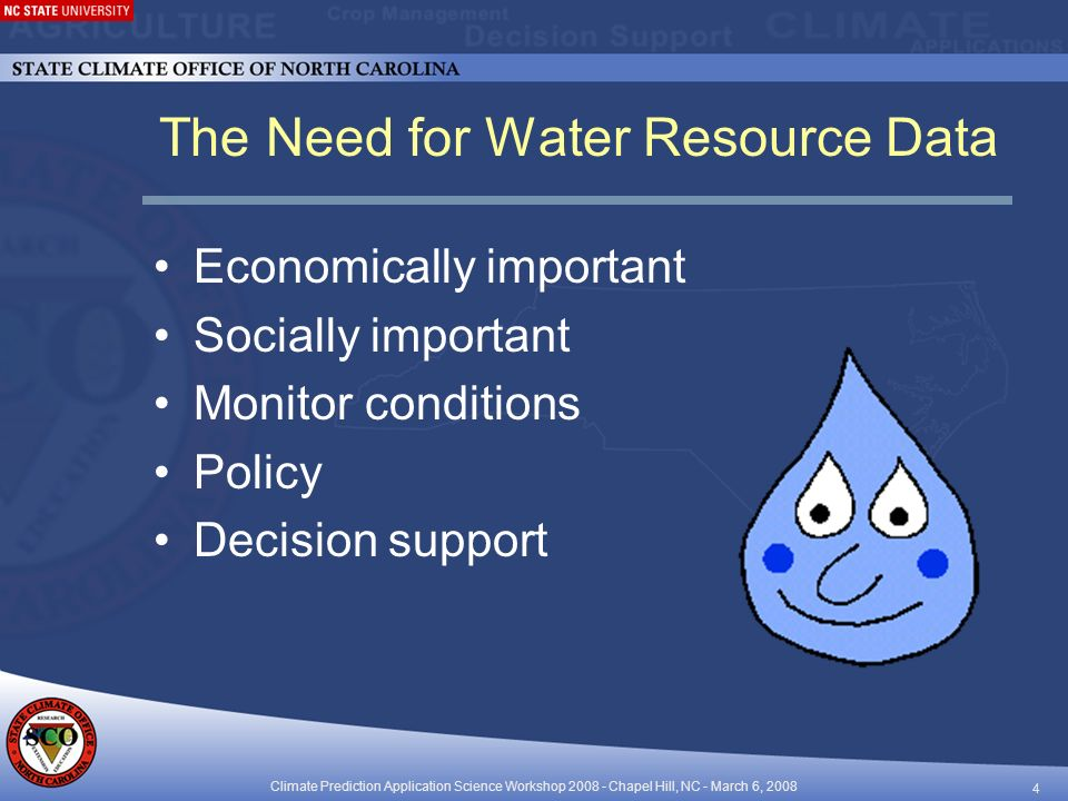 Climate Prediction Application Science Workshop Chapel Hill, NC - March 6, The Need for Water Resource Data Economically important Socially important Monitor conditions Policy Decision support