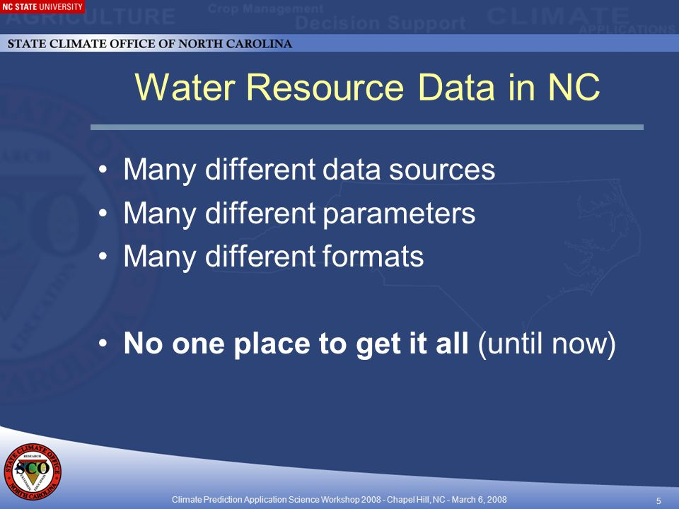 Climate Prediction Application Science Workshop Chapel Hill, NC - March 6, Water Resource Data in NC Many different data sources Many different parameters Many different formats No one place to get it all (until now)