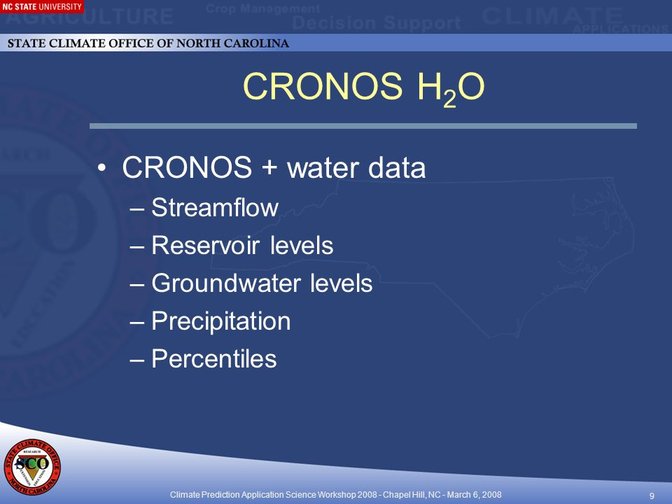 Climate Prediction Application Science Workshop Chapel Hill, NC - March 6, CRONOS H 2 O CRONOS + water data –Streamflow –Reservoir levels –Groundwater levels –Precipitation –Percentiles