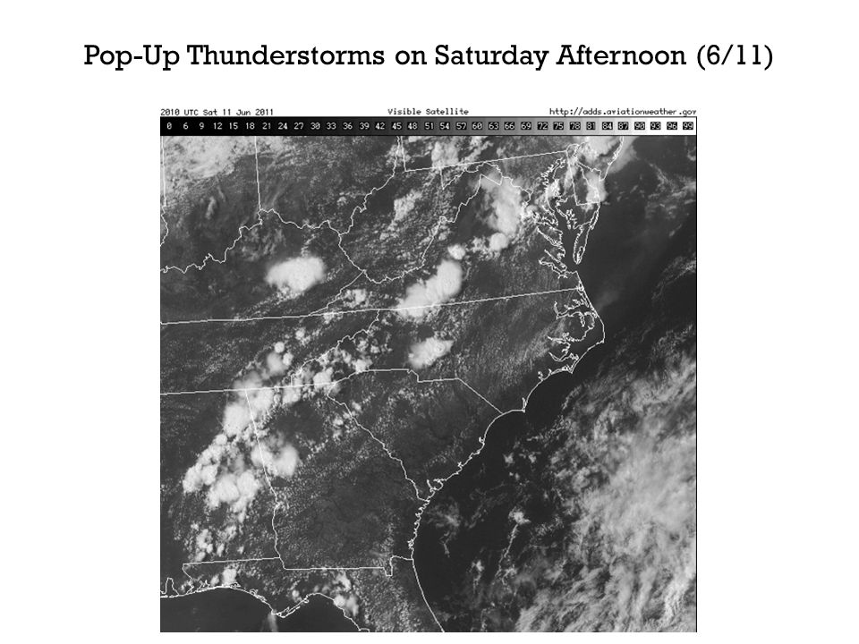 Pop-Up Thunderstorms on Saturday Afternoon (6/11)