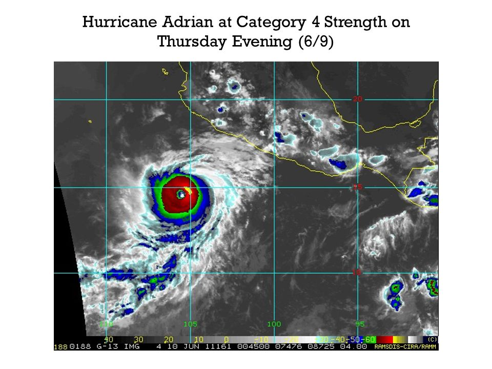 Hurricane Adrian at Category 4 Strength on Thursday Evening (6/9)
