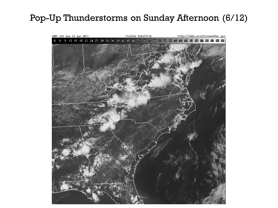 Pop-Up Thunderstorms on Sunday Afternoon (6/12)