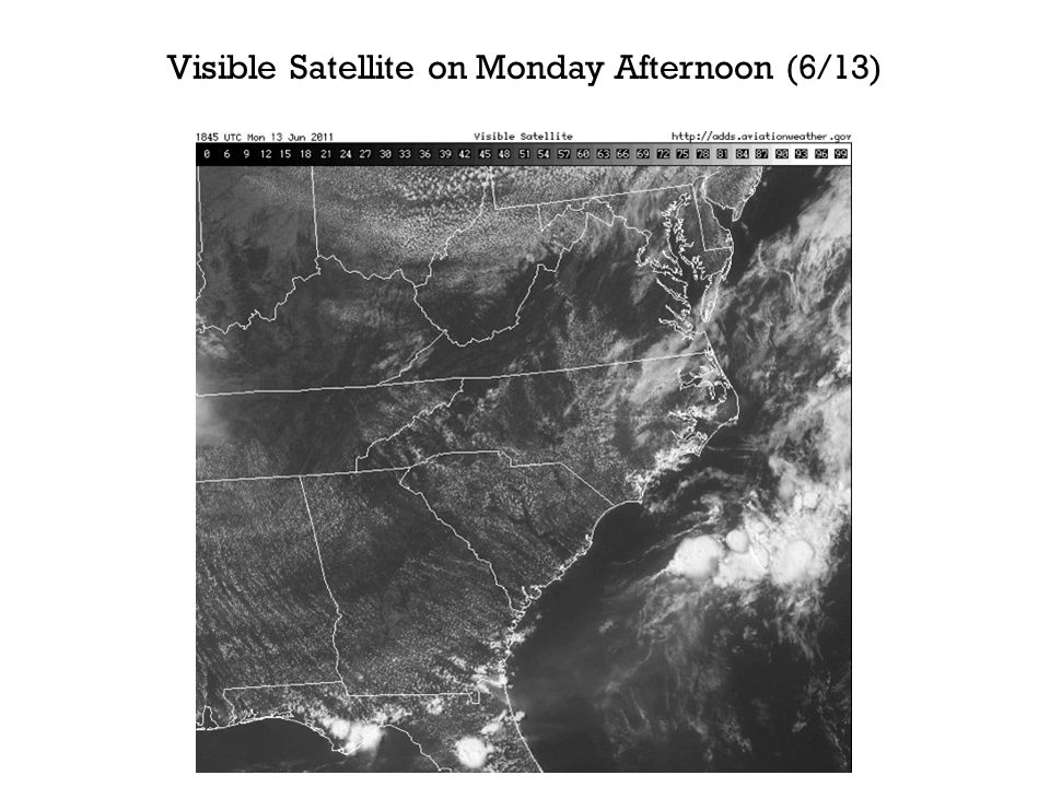 Visible Satellite on Monday Afternoon (6/13)