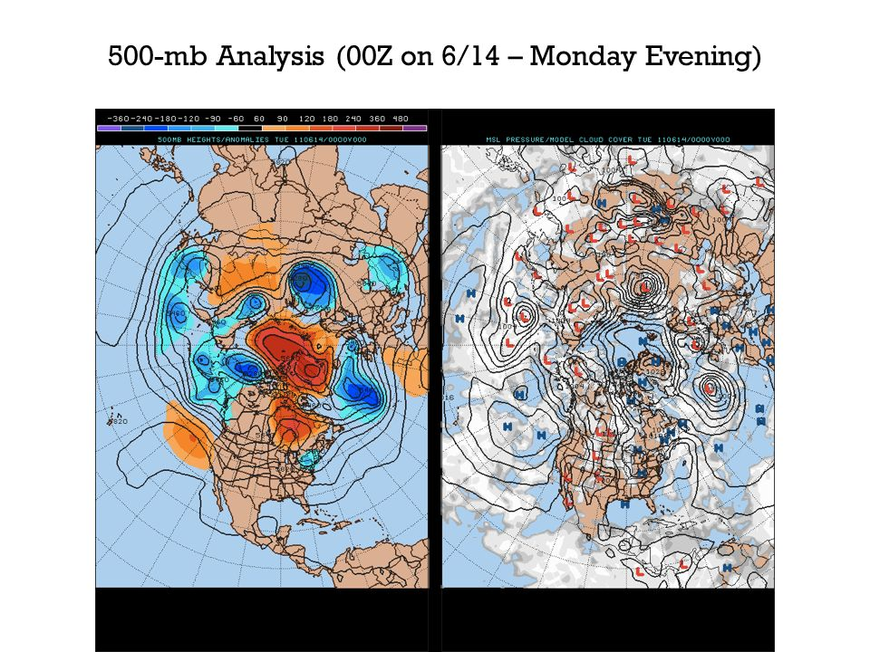 500-mb Analysis (00Z on 6/14 – Monday Evening)