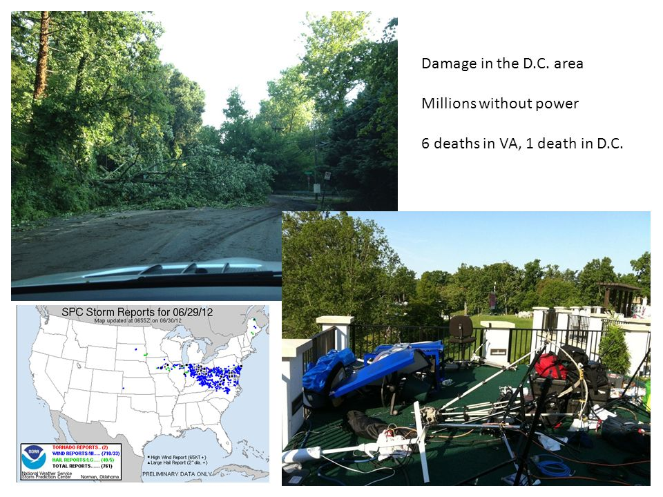 Damage in the D.C. area Millions without power 6 deaths in VA, 1 death in D.C.