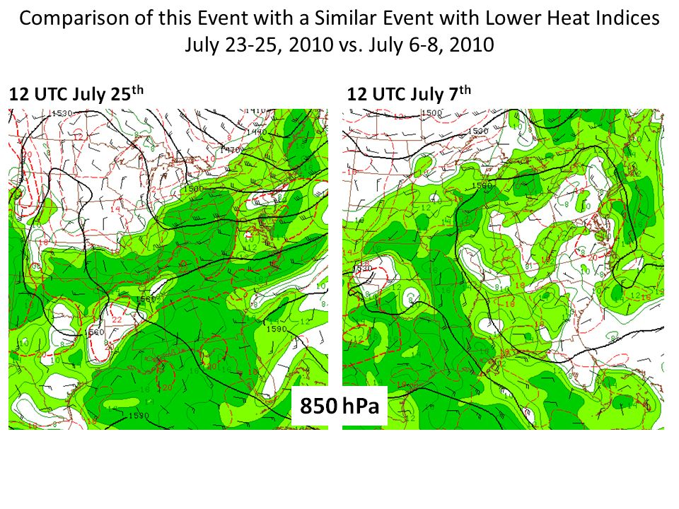 Comparison of this Event with a Similar Event with Lower Heat Indices July 23-25, 2010 vs.