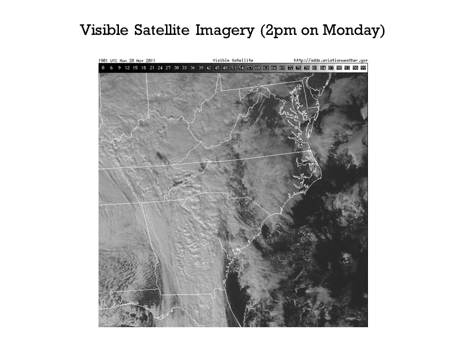 Visible Satellite Imagery (2pm on Monday)