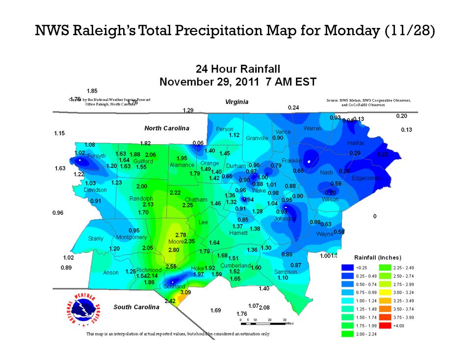 NWS Raleighs Total Precipitation Map for Monday (11/28)